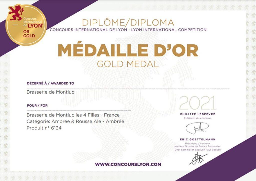 Diplome médaille d'or concours international Lyon Bière ambrée